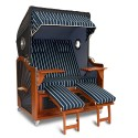 Aussteller - Strandkorb XL 130 Mahagoni Bullaugen Streifen blau