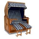 Strandkorb XL Mahagoni Karo blau