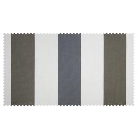 Strandkorb XL Mahagoni Bremen Streifen grau taupe Bullaugen