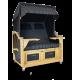 Strandkorb XXL Teak Gronau Streifen schwarz silber (ACHTUNG: Abbildung abweichend, hier Modell XL 130)