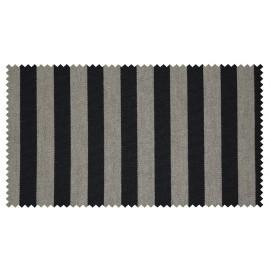 Strandkorb XXL Teak Gronau Streifen schwarz silber Bullaugen (ACHTUNG: Abbildung abweichend, hier Modell XL 130)
