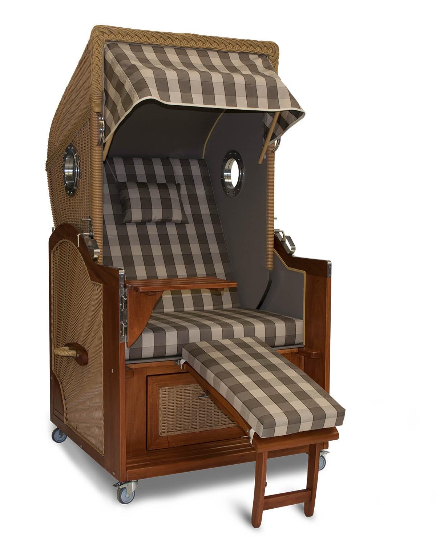 strandkorb single mahagoni l neburg taupe bullauge kaufen. Black Bedroom Furniture Sets. Home Design Ideas