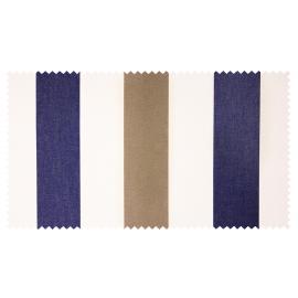 Strandkorb M120 Mahagoni Bremen Streifen blau taupe